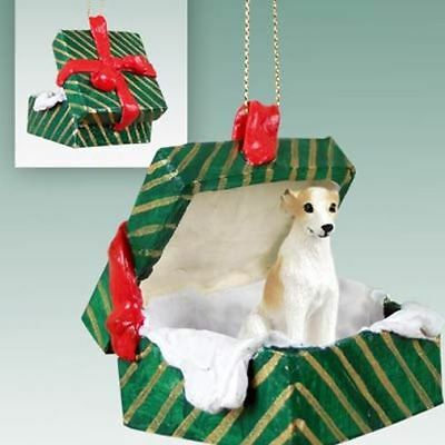 Whippet Tan White Dog Green Gift Box Holiday Christmas ORNAMENT