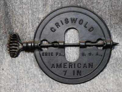 """1915 Griswold Cast Iron 7"""" American Reversable Steel Spindle Stove Pipe Damper"""