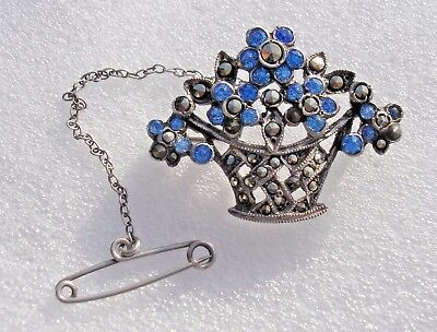 Pretty vintage 1950's Sterling Silver basket brooch with blue stones & Marcasite