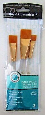 BRAND NEW Package of Three Gold Taklon Value Pack Paint Brushes~FAST Ship~USA
