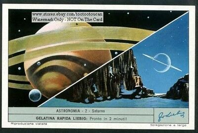 The Planet Saturn Saturno c40 Y/O Astronomy Trade Ad Card