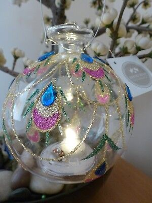LED Christmas Bauble Heaven Sends Round Clear Glittered Feathers