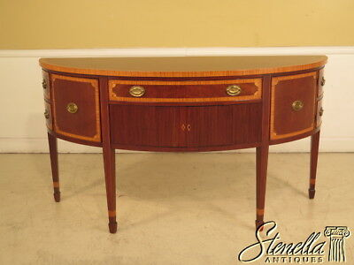 23700E: KITTINGER 1/2 Round Inlaid Mahogany Sideboard w. Satinwood Inlay