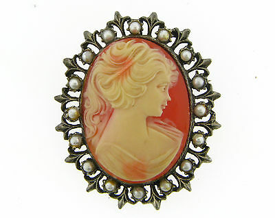 Vingage Antique Silver Faux Pearl Set Large Poured Resin Lady Came Pin Pendant