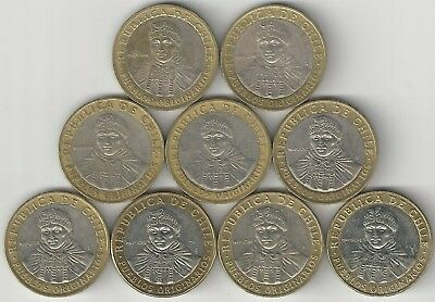 9 DIFFERENT BI-METAL 100 PESO COINS from CHILE (2001/03/05/06/08/10/12/14/15)