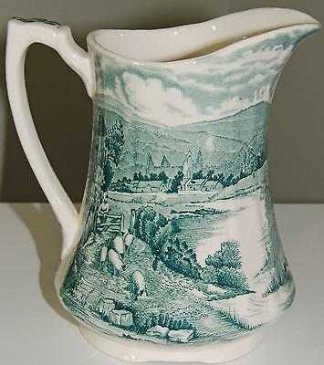 ANTIQUE ALFRED MEAKIN BRITISH POTTERY JUG, GREEN TINTERN PATTERN, 16oz