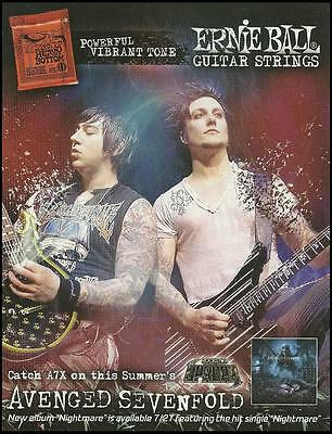Avenged Sevenfold Nightmare Zacky Synyster Ernie Ball guitar strings 8 x 11 ad