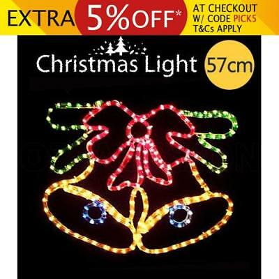 Colourful Christmas Double Bell w/ Bow Motif Rope Light Xmas Decoration Lighting