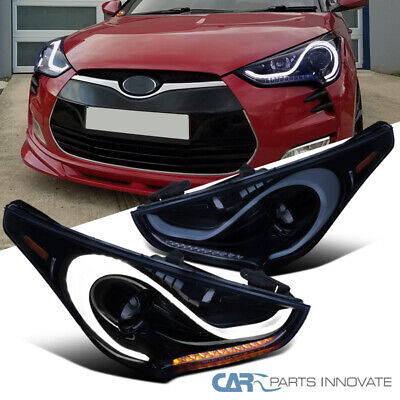 12-17 For Veloster Glossy Black LED & Sequential Signal Projector Headlights