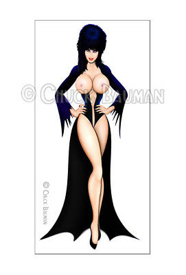 Fridge Magnet Elvira Standee pose macabre horror bomber girl pin-up girl art R