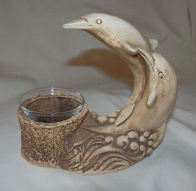 DOLPHIN Tealight Candle Holder by RICARDO Collectible Fish Beach House Decor