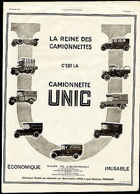 """1924 ad 9 Models of the French Cars and Panel Trucks called """"Unit Camionnette"""""""