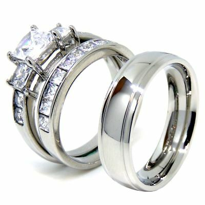 Matching Couple Ring Set Womens 3 Stone Princess CZ Ring Mens Dome Grooved Edge