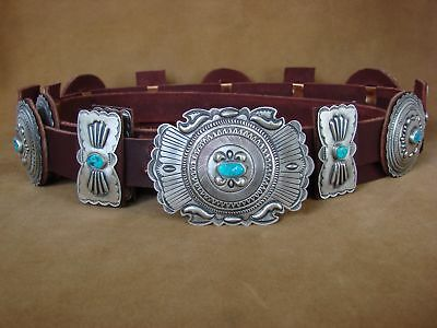 Native American Jewelry Turquoise Sterling Silver Concho Belt Eugene Charley