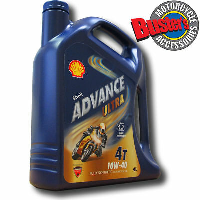 Shell Advance Ultra 10w/40 4T Fully Synthetic Motorcycle Engine Oil 4 Litres 4L