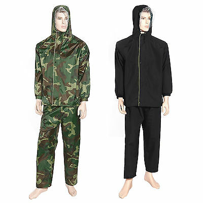 Waterproof Rain Suit Black Camouflage PVC Nylon 2 Pieces Jacket pant seam sealed