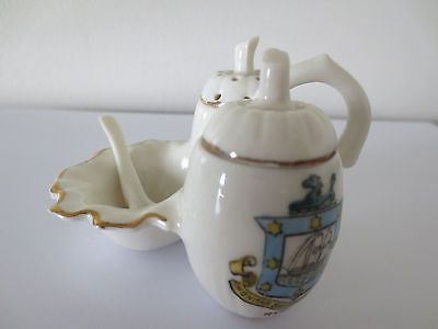 VINTAGE MINIATURE CRESTED CHINA CRUET SET with Ceramic Spoon - Ryde