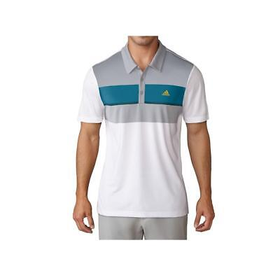 Adidas Golf 2017 Climacool Chest Block Men's Polo Shirt (White/Petrol Night)