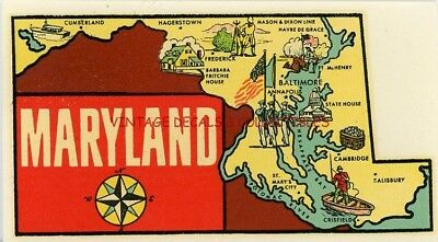 Vintage Maryland State Map Souvenir Luggage Water Travel Decal Sticker Goldfarb