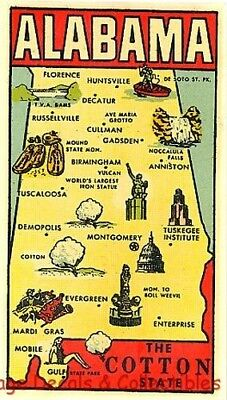 Vintage Alabama Cotton State Map Goldfarb Novelty Souvenir Travel Decal Rare Art