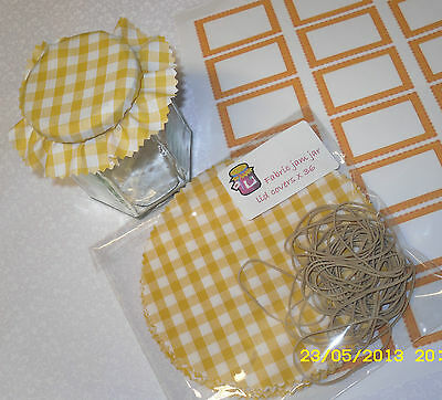 FABRIC JAM covers yellow gingham PACK includes sticky jar labels & bands x 20