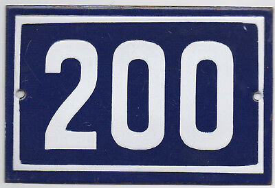 Old blue French house number 200 door gate plate plaque enamel steel metal sign