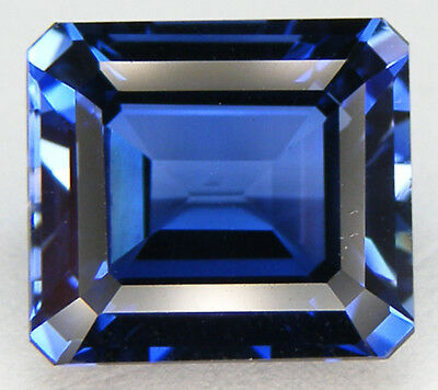 14,26CT. TOP QUALITE T. EMERAUDE 14,1x12,5 MM. SAPHIR BLEU CORINDON DE SYNTHESE