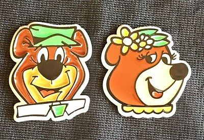 Vintage Yogi Bear & Cindy Bear Refrigerator Magnets Hanna Barbera Cartoons