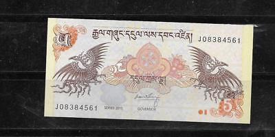 BHUTAN #28b 2011 UNCIRCULATED 5 NGULTRUM  BANKNOTE PAPER MONEY CURRENCY NOTE