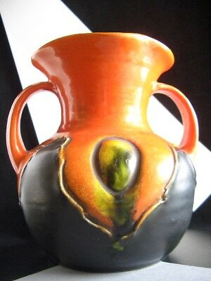 BRETBY ART 1924 Flame,Tango,Emerald CABOCHON HANDLED HIGH RELIEF VASE - Signed