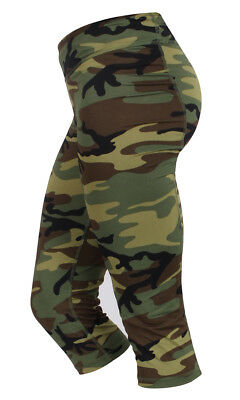 Womens Army Camo Spandex Performance Workout Zumba Capris Exercise Yoga Pants