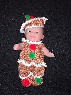 """Itty Bitty Baby Crochet Doll Clothes- Miss Gingerbread-for 5"""" Doll- By NIKO"""