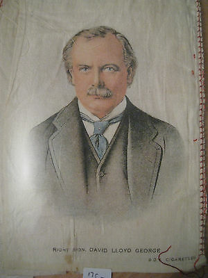 Great War WW1 Large Silk Cigarette Card - David Lloyd George (BDV Cigarettes)