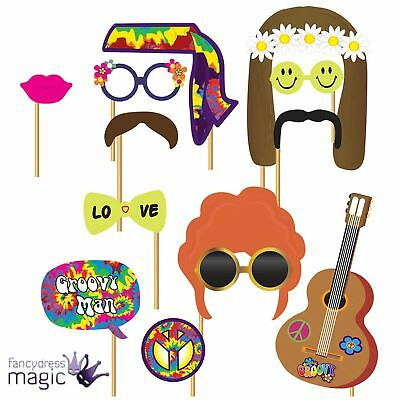 Pack Of 12 Hippy Hippie 60s 70s Picture Photo Booth Props Wedding Prom Party Set