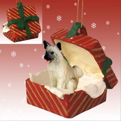 Akita Fawn Dog RED Gift Box Holiday Christmas ORNAMENT