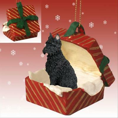 Bouvier des Flandres Cropped Ears Dog RED Gift Box Holiday Christmas ORNAMENT
