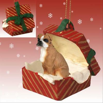 Boxer Uncropped Ears Dog RED Gift Box Holiday Christmas ORNAMENT