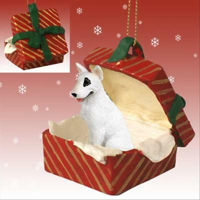 Bull Terrier Dog RED Gift Box Holiday Christmas ORNAMENT