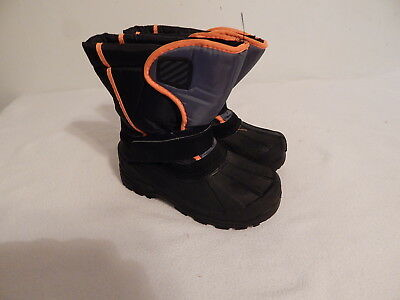 Boys Youth boots Snow winter Warm Liners size 2 Black Grey Orange