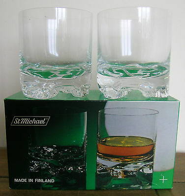 St Michael,2 Hand Finished Glass Tumblers..nordic..made In Finland