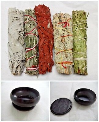 SET 5 Sage Smudge Stick SAMPLER & Burner: White Black Blue Cedar Dragons Blood