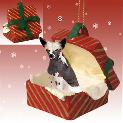 Chinese Crested Dog RED Gift Box Holiday Christmas ORNAMENT