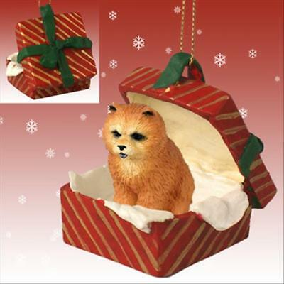 Chow Chow Red Dog RED Gift Box Holiday Christmas ORNAMENT