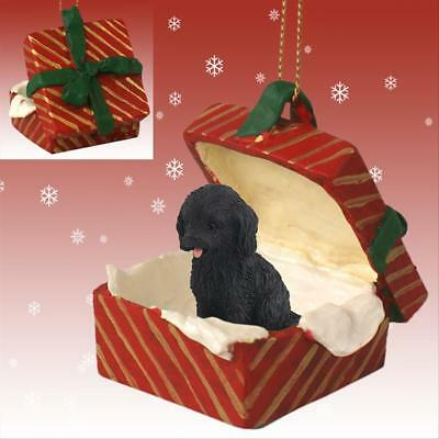 Cockapoo Black Dog RED Gift Box Holiday Christmas ORNAMENT