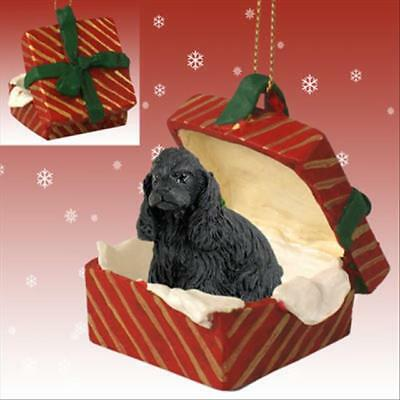 Cocker Spaniel Black Dog RED Gift Box Holiday Christmas ORNAMENT