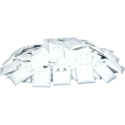 "100 Earring White Puff Card Jewelry Case Display Pads 1 1/2"" x 1 3/4"""
