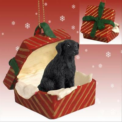 Flat Coated Retriever Dog RED Gift Box Holiday Christmas ORNAMENT