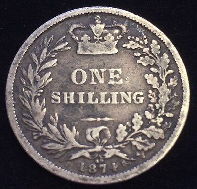 Antique Solid Silver 1874 Queen Victoria Shilling