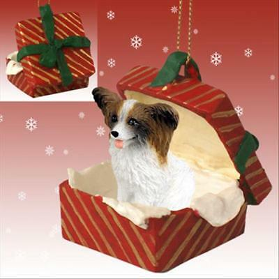 DOG CHRISTMAS ORNAMENT HOLIDAY  Figurine gift Xmas pet BROWN WHITE PAPILLON