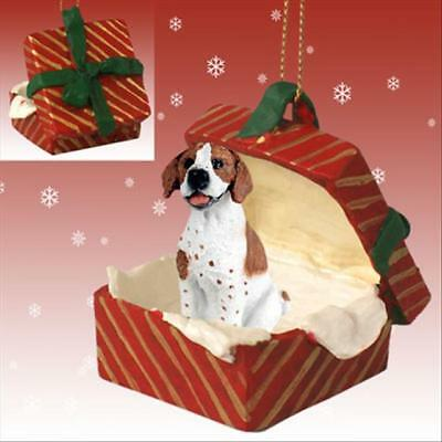Pointer Brown White Dog RED Gift Box Holiday Christmas ORNAMENT